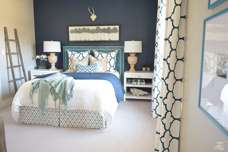 Navy/Aqua guest bedroom