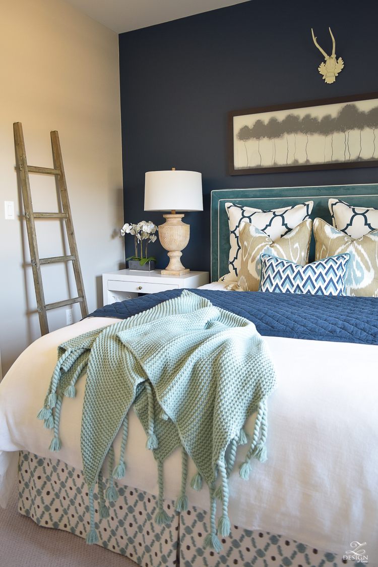 Transitional navy and aqua bed room-10