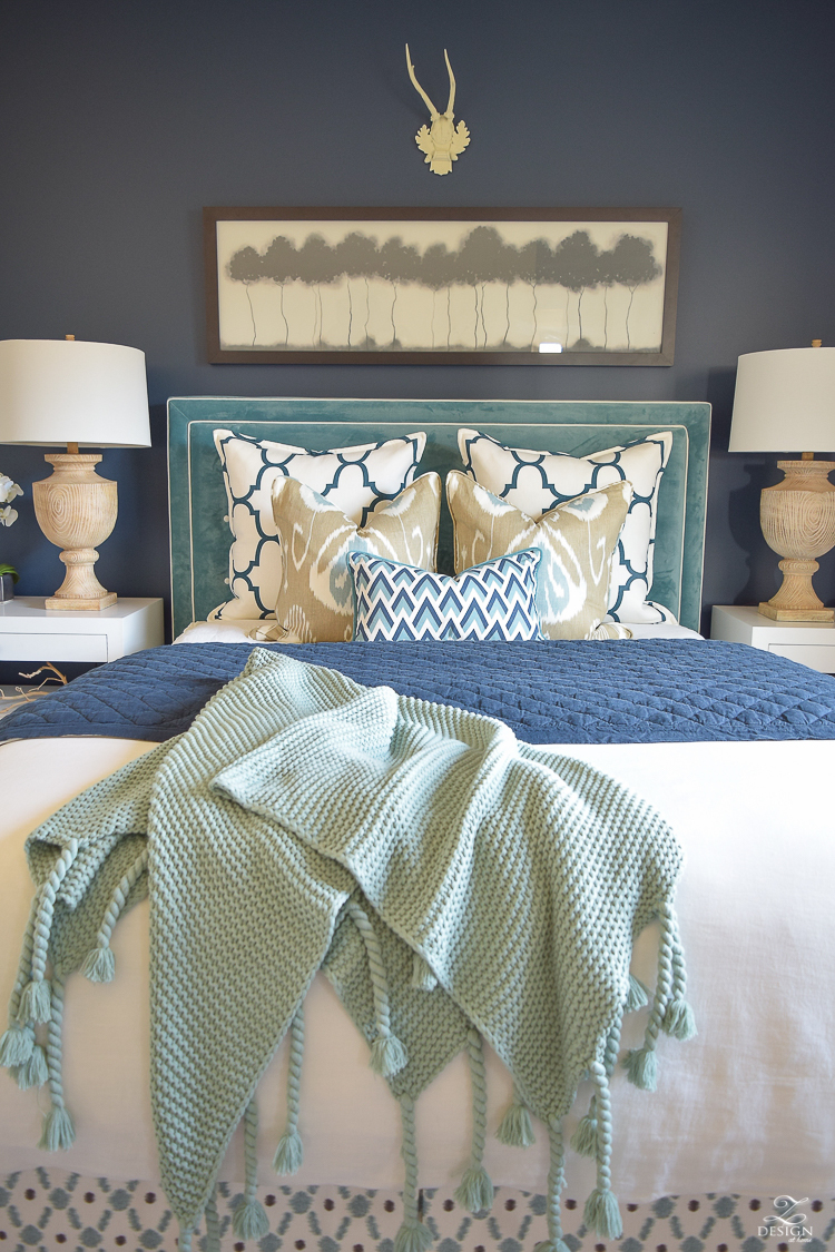 Transitional navy and aqua bed room-11