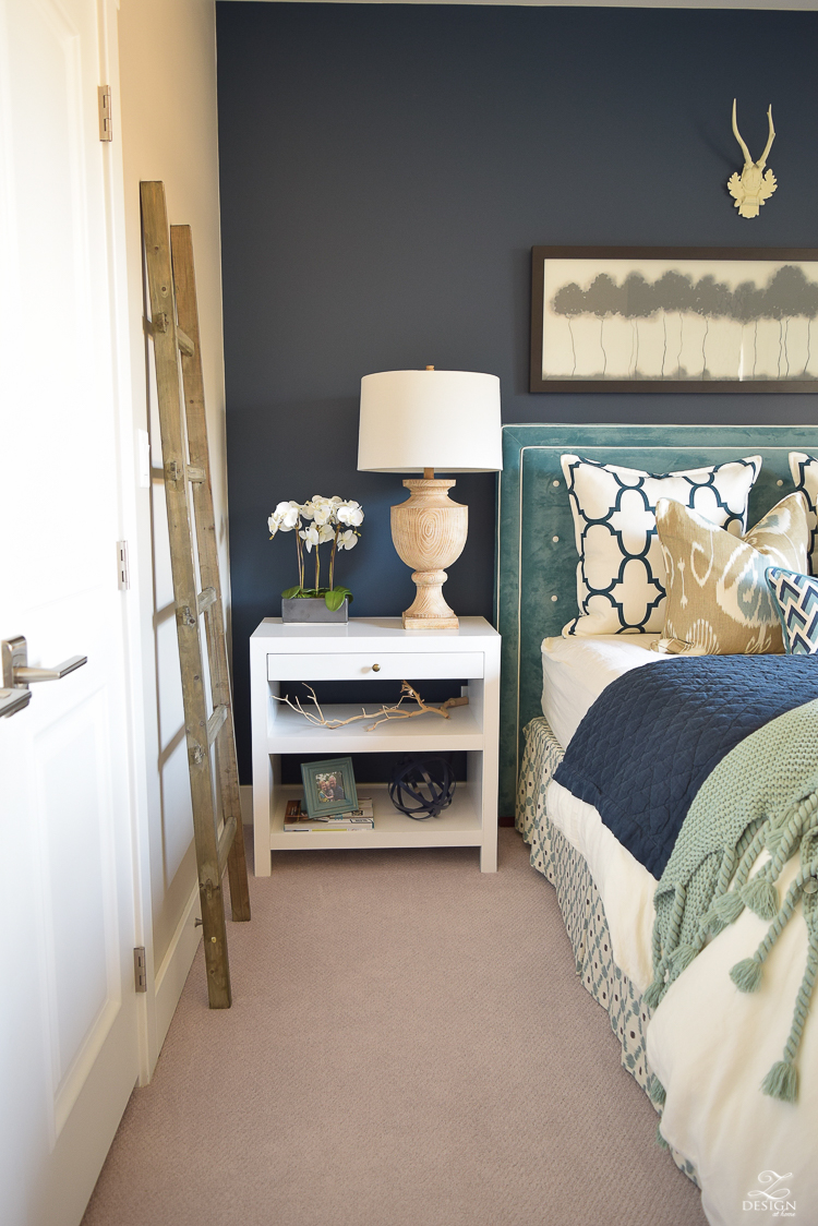 Transitional navy and aqua bed room-12