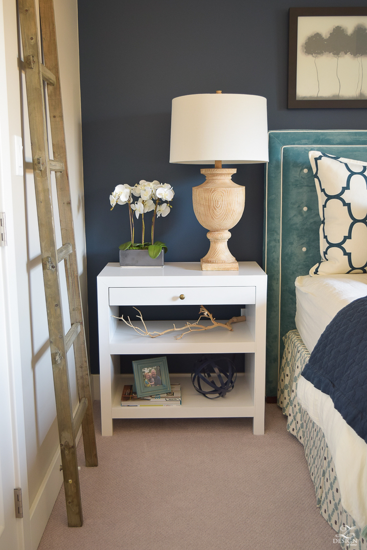 Transitional navy and aqua bed room-13
