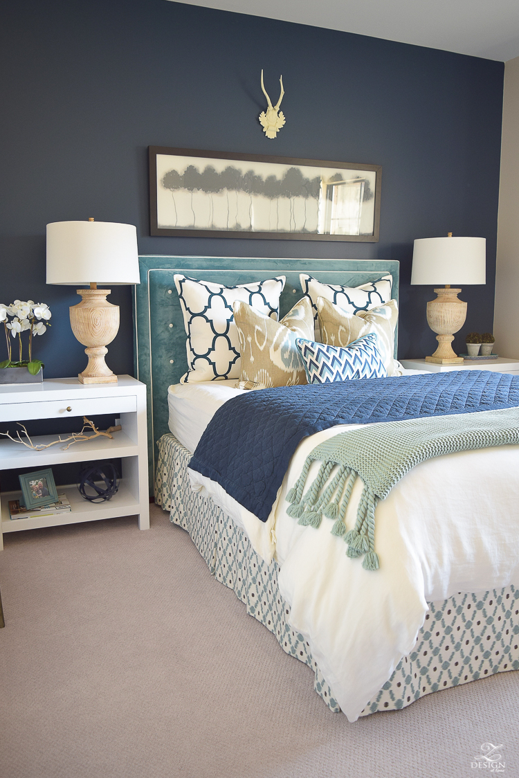 Transitional navy and aqua bed room-14