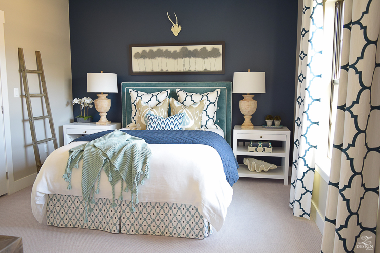 Transitional navy and aqua bed room-2