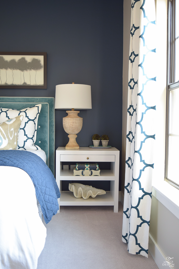 Transitional navy and aqua bed room-5