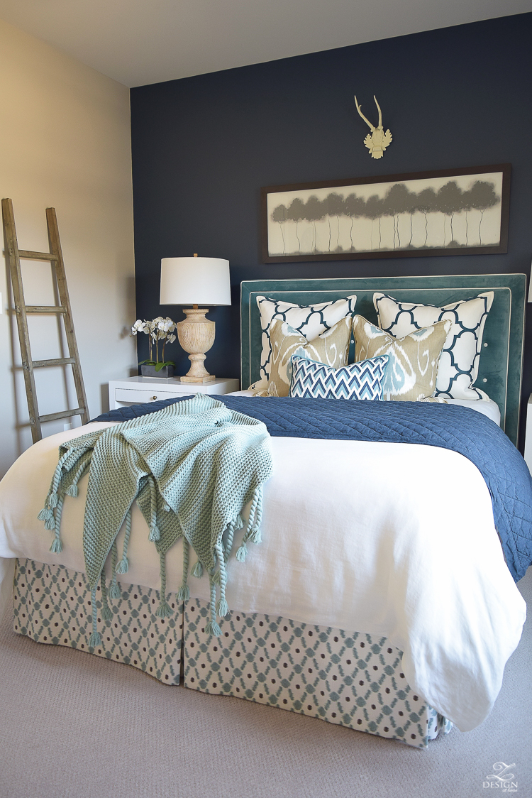 Transitional navy and aqua bed room-8