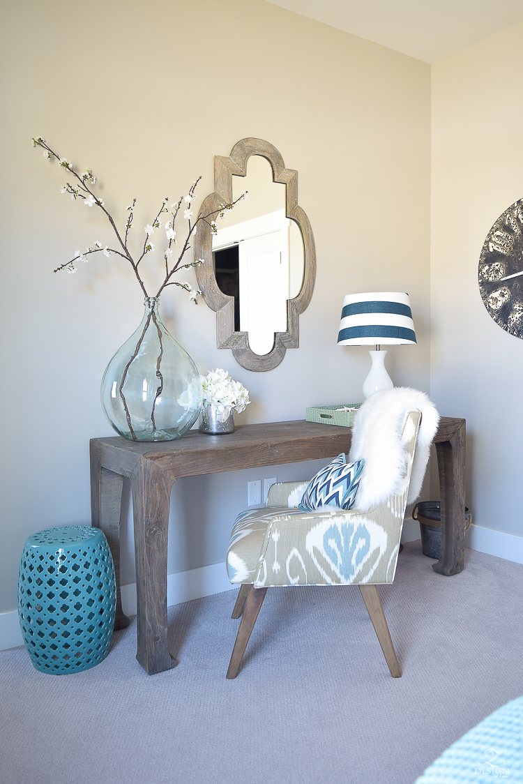 Transitional navy and aqua bed work space-2