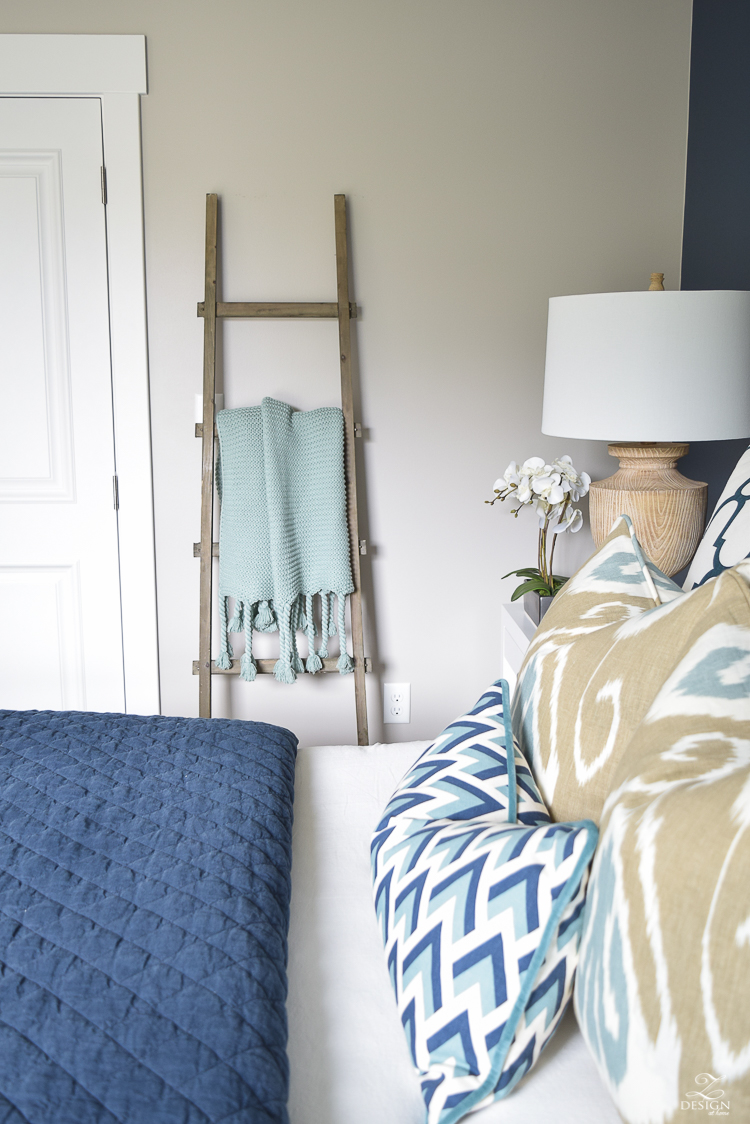 Transitional navy and aqua bedroom-16
