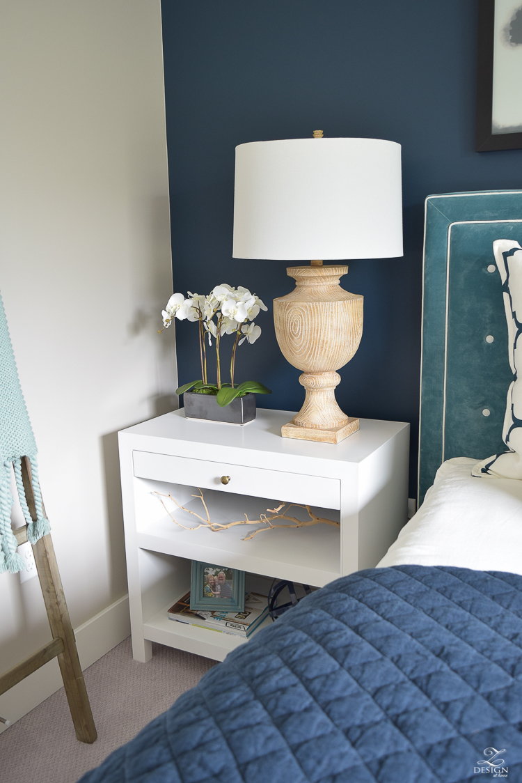 Transitional navy and aqua bedroom-17