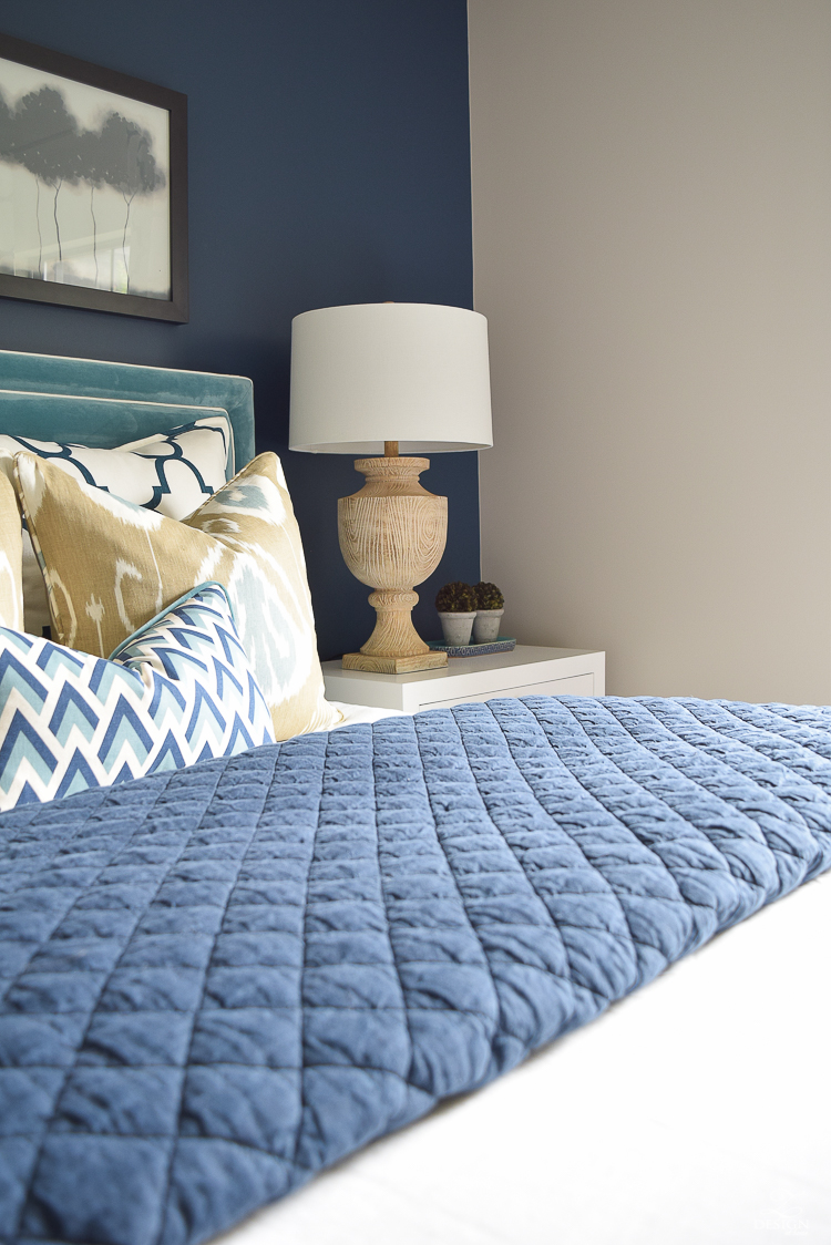 Transitional navy and aqua bedroom-18