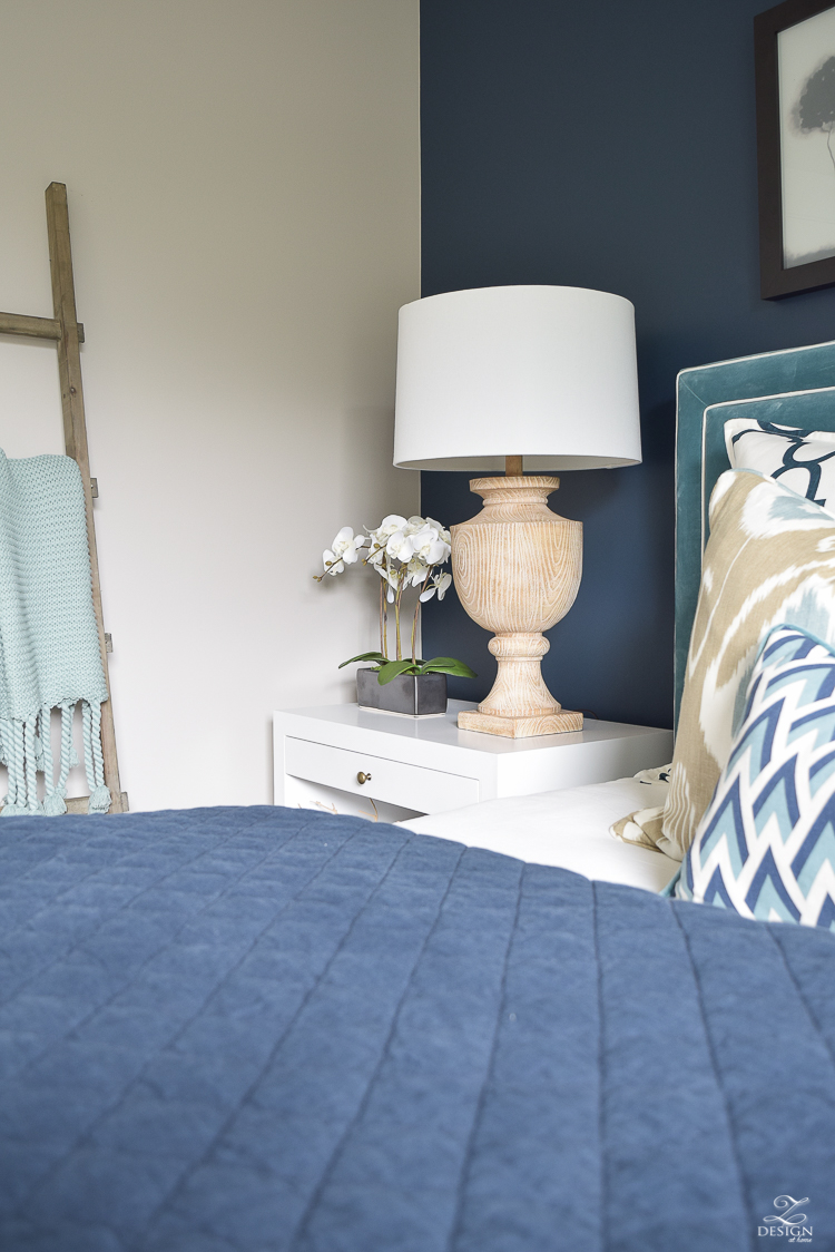 Transitional navy and aqua bedroom-19