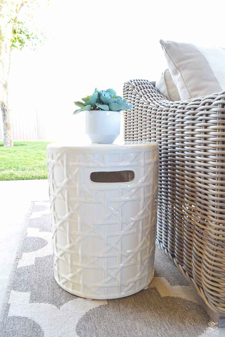 White Outdoor Latice Garden Stool Styling Tips 3