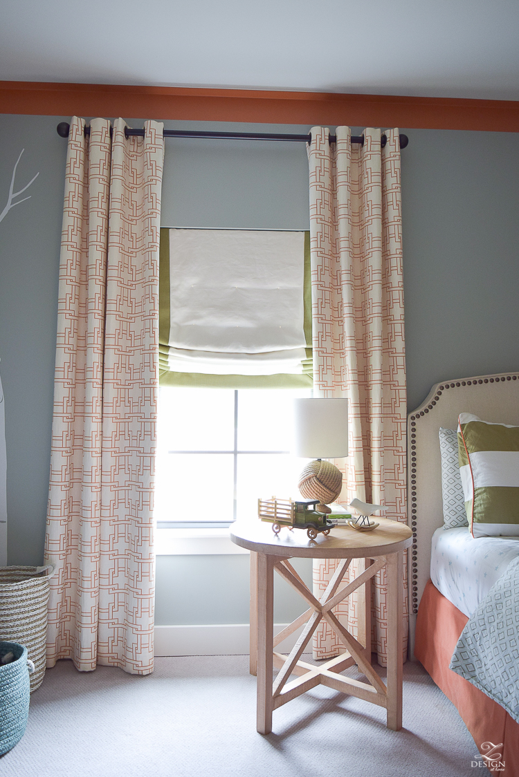 kravet city squares linen custom curtains in orange how to know when to use what curtains PB Essential curtain rod-1