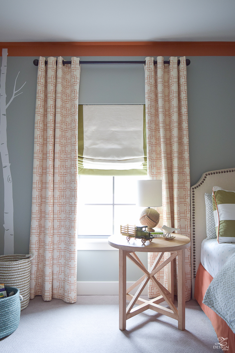 kravet city squares linen custom curtains in orange how to know when to use what curtains PB Essential curtain rod-2