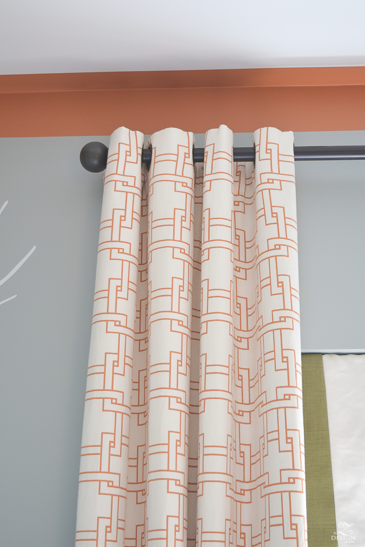 kravet city squares linen custom curtains in orange how to know when to use what curtains PB Essential curtain rod-4