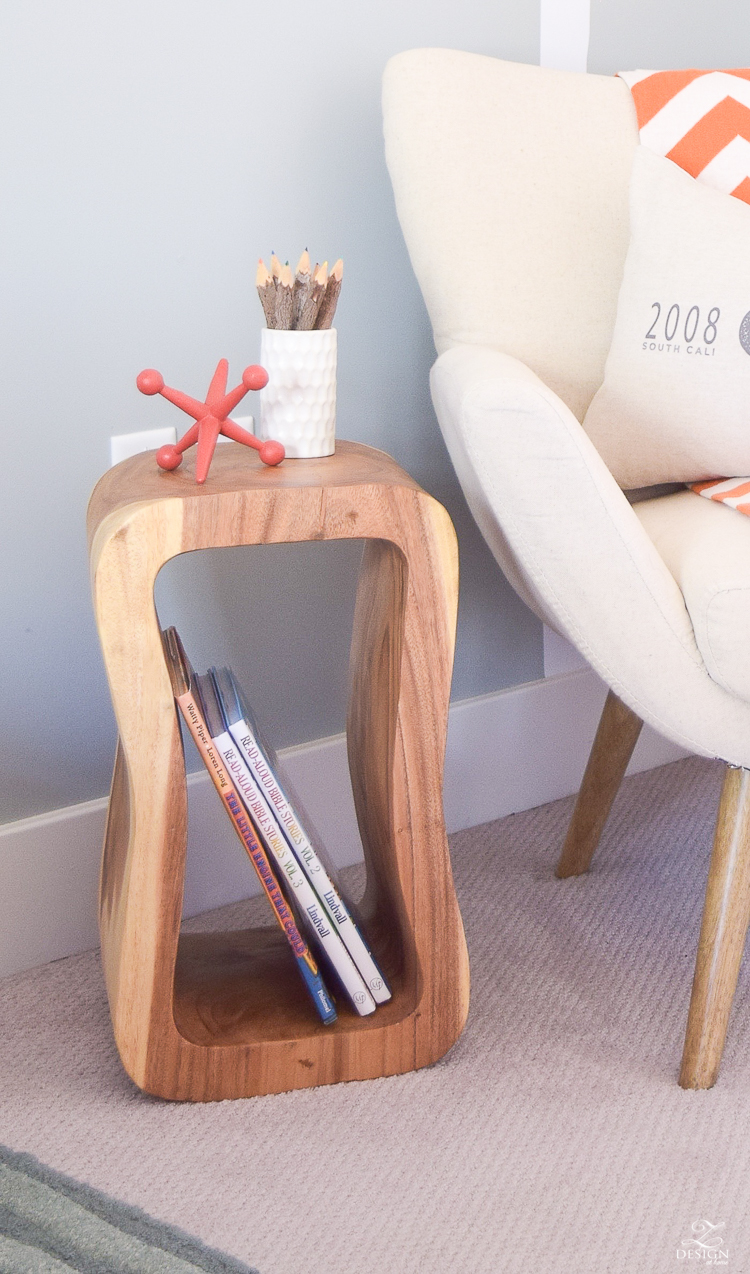 Wooden Garden Stool Mid Mod Chair Tree Decal Boys Room 2