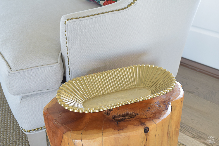 Summer living room brass tray