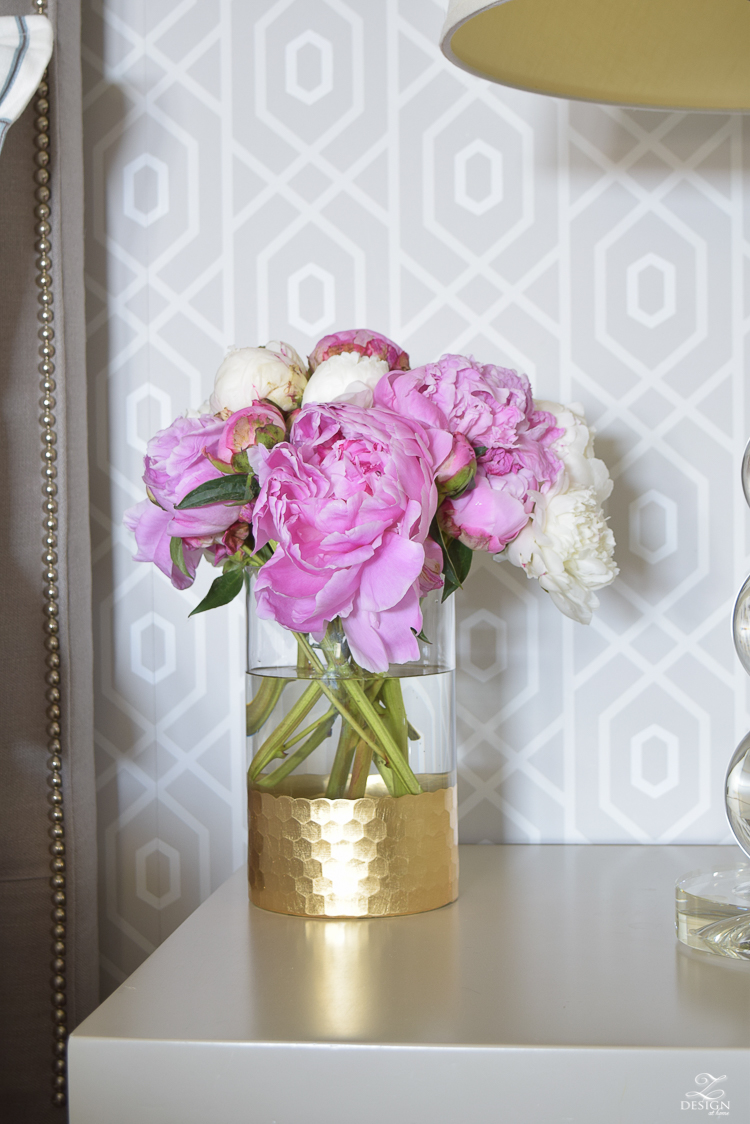 pink and white peonies next to bed geometric thibaut wallpaper_-2