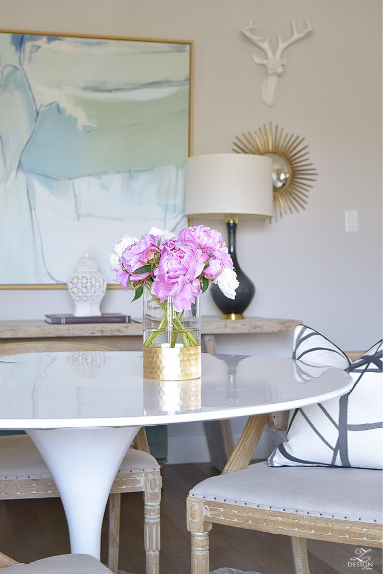 pink peonies white tulip table gallery wall