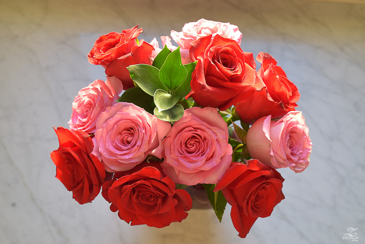 red and pink roses flower arrangement