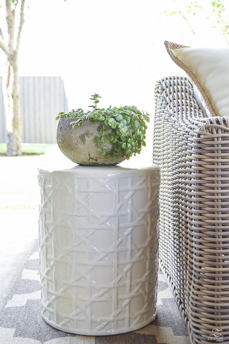 succulent plant lattice garden stool
