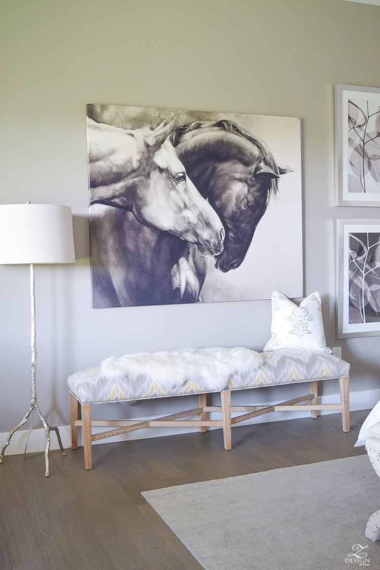 """sherwin williams requisite gray paint horse art 72"""" upholstered bench"""