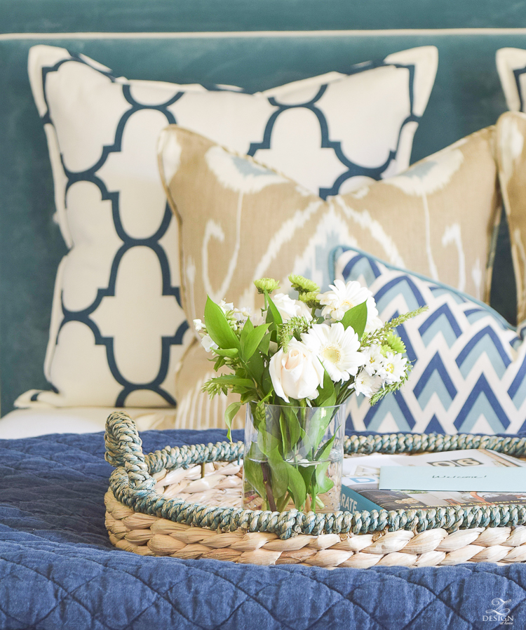 Simple Guest Room Tips Aqua Navy bedroom kravet riad navy pillows and curtains-10