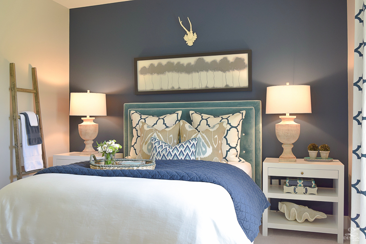 Simple Guest Room Tips Aqua Navy bedroom kravet riad navy pillows and curtains-11
