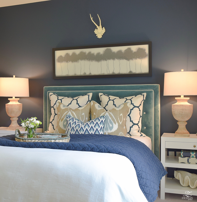 Simple Guest Room Tips Aqua Navy bedroom kravet riad navy pillows and curtains-12
