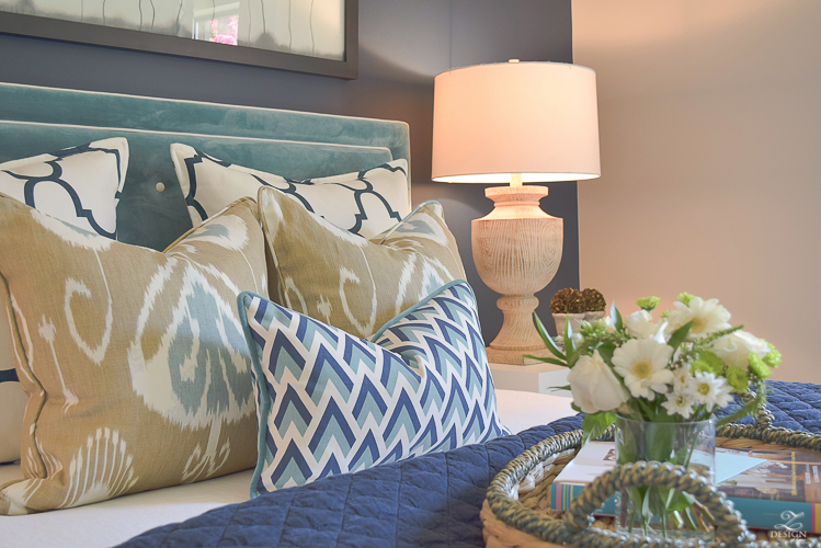 navy and aqua geometric pillows for sale