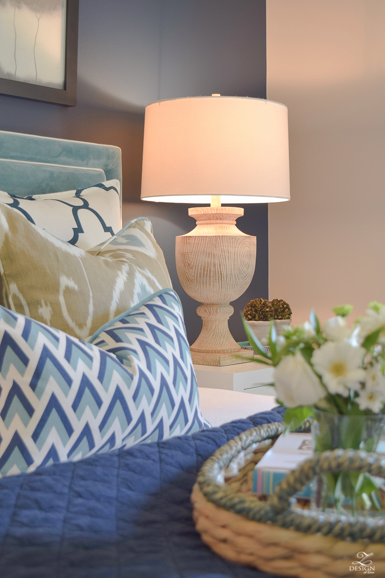 Simple Guest Room Tips Aqua Navy bedroom kravet riad navy pillows and curtains-15