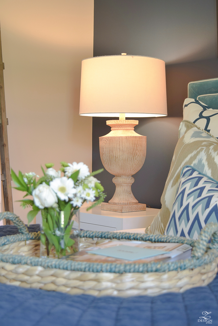 Simple Guest Room Tips Aqua Navy bedroom kravet riad navy pillows and curtains-16
