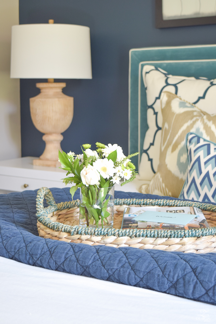 Simple Guest Room Tips Aqua Navy bedroom kravet riad navy pillows and curtains-3