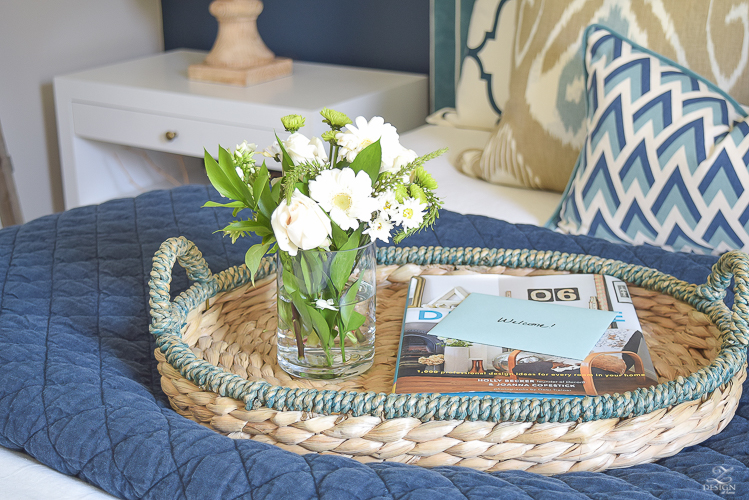 Simple Guest Room Tips Aqua Navy bedroom kravet riad navy pillows and curtains-4