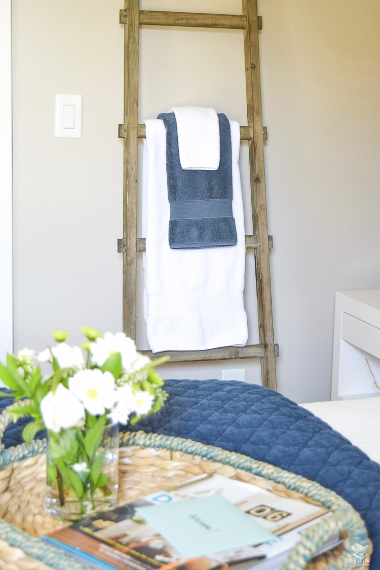 Simple Guest Room Tips Aqua Navy bedroom kravet riad navy pillows and curtains-6
