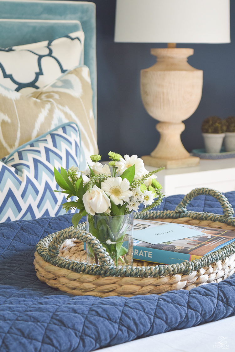 Simple Guest Room Tips Aqua Navy bedroom kravet riad navy pillows and curtains-8