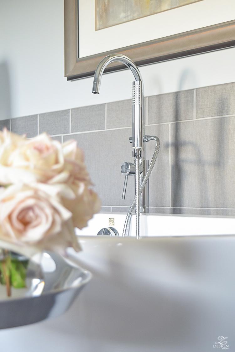 free standing tub transitional neutral bathroom benjamin moore silver lake chrome tub filler-1