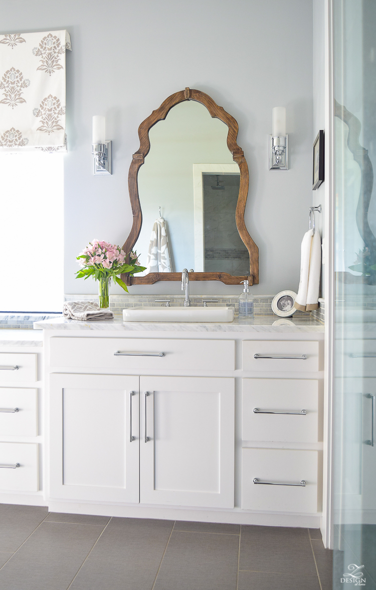neutral transitional master bath white cabinets carrara marble benjamin moore silver lake Uttermost Augusta Wooden Mirror -1