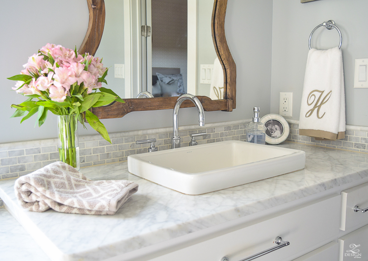 neutral transitional master bath white cabinets carrara marble benjamin moore silver lake Uttermost Augusta Wooden Mirror -2