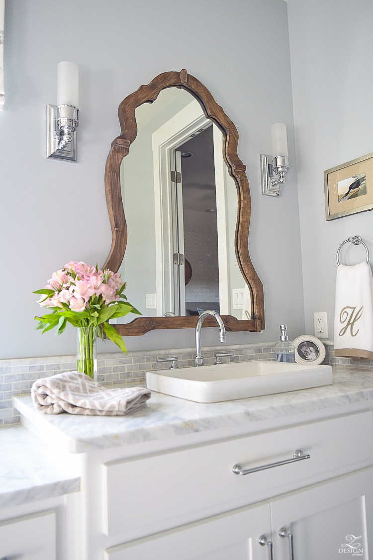 neutral transitional master bath white cabinets carrara marble benjamin moore silver lake Uttermost Augusta Wooden Mirror -3