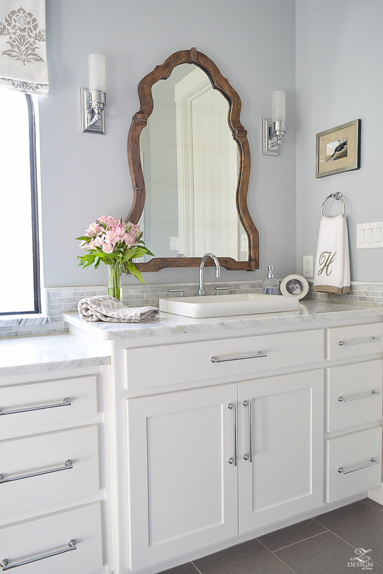 neutral transitional master bath white cabinets carrara marble benjamin moore silver lake Uttermost Augusta Wooden Mirror -4