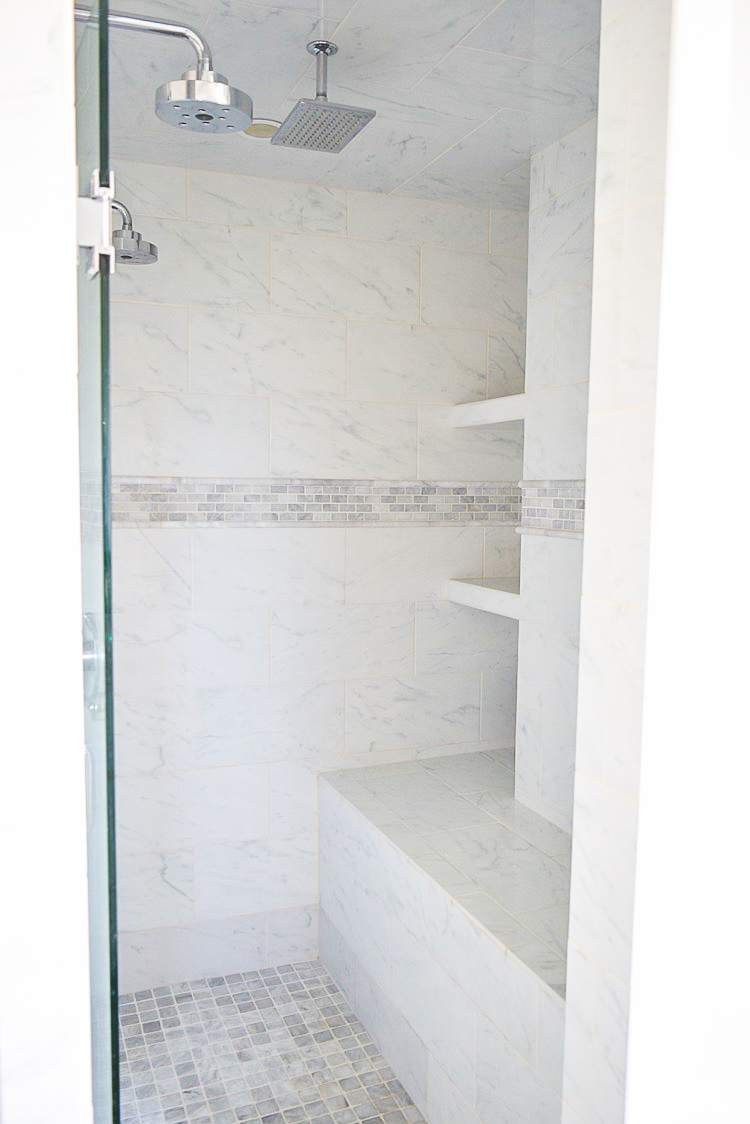 white carrara marble shower-1