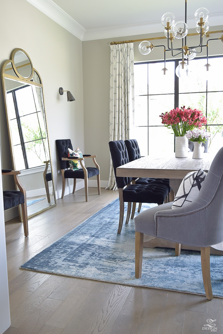 Kravet Riad fabric curtains in silver blue vintage inspired rug transitional modern dining room-2