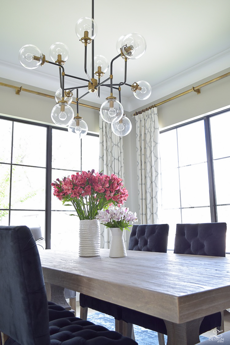 mid century modern chandelier in brass