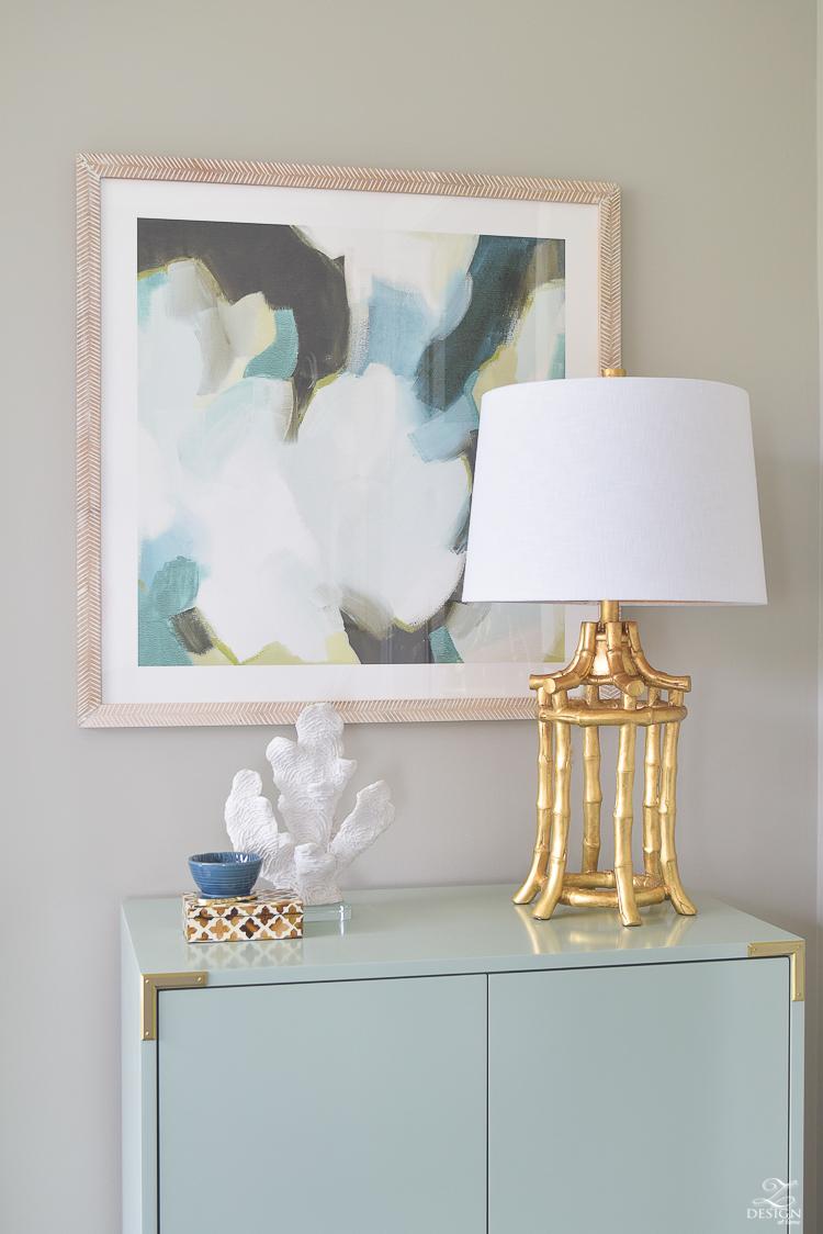 West Elm Aqa bar cabinet Minted Art Kravet Riad Drapes gold bamboo lamp-3