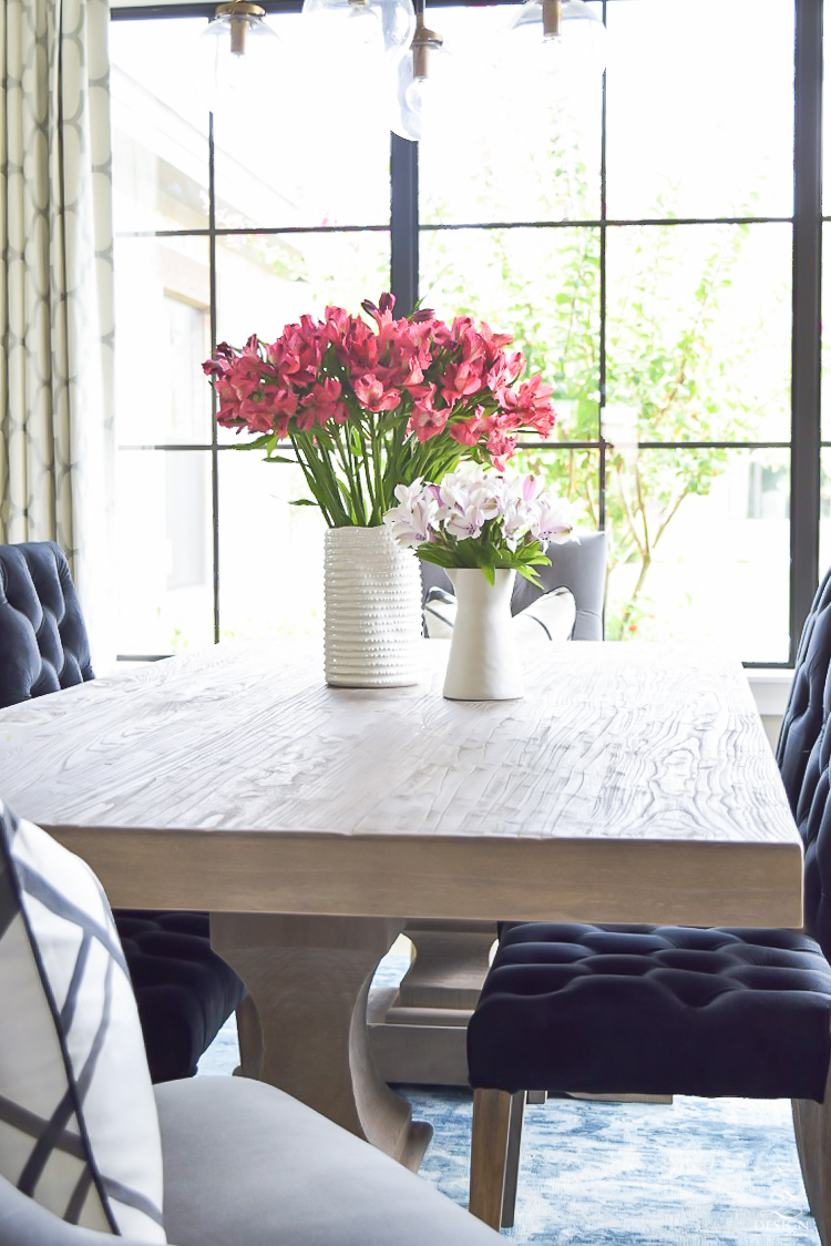 alstromeria flowers dumont dining table black tufted dining chairs transitonal modern dining room -2