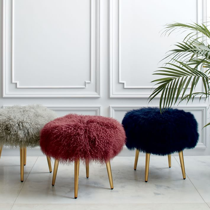 faux fur stool mongolian fur brass legs
