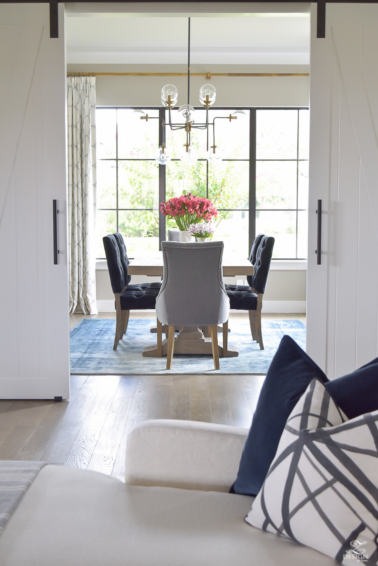 Transitional Dining Room With Rustic Table And Modern Chandelier Vintage Inspired Rug 2