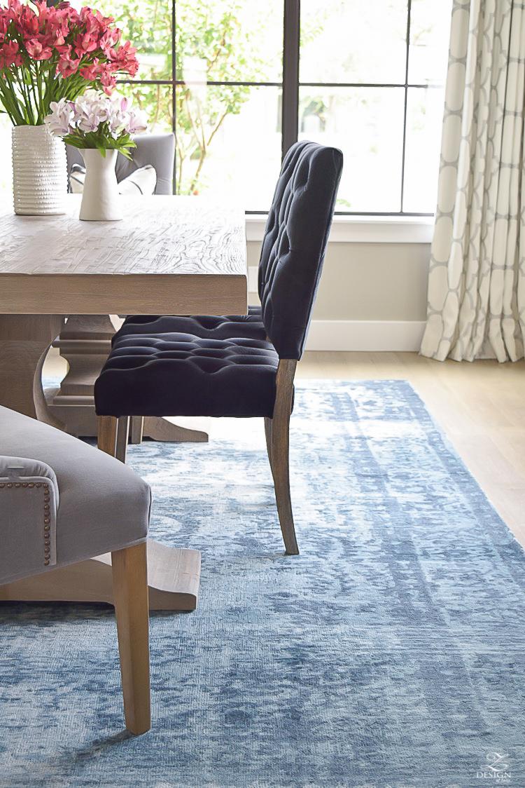 blue vintage inspired rug