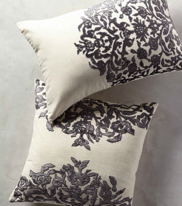 anthropology vining velvet pillow