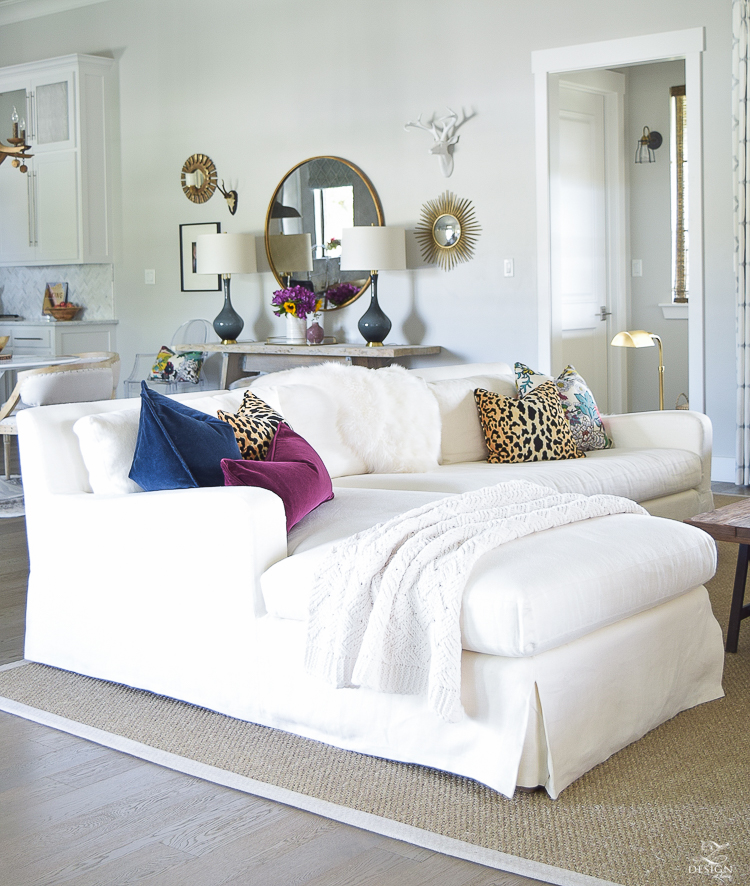 white transitional fall living room chiang mia dragon fabric pillow leaopard pillows kravet riad curtains